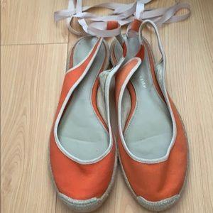Shoes - Charles & Keith Orange lace flats. 40% no box